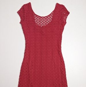 Free People Crochet Pink Knit Dress Small